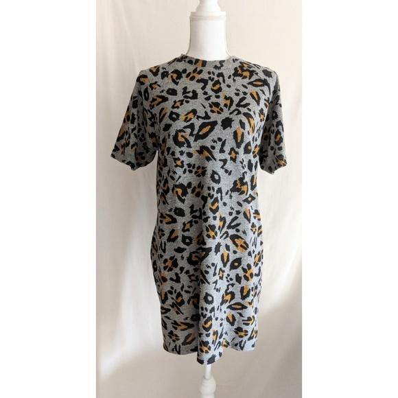 f82bc9649796 Zara Dresses | Tarafluc Gray Leopard Print Tshirt Dress | Poshmark